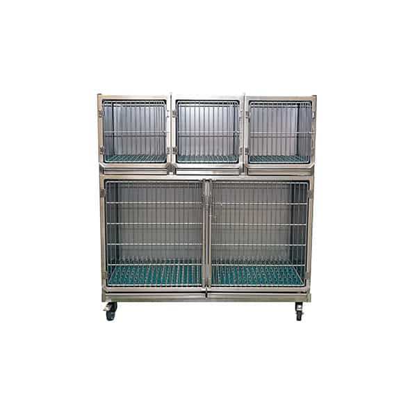 Set of 4 stainless steel cages with gratings on wheeled chassis (1C + 3A)