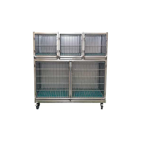 CI004000 Ensemble 4 cages inox porte grille inox (1C + 3A + séparation + 1 chassis à roulette) N1