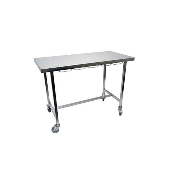 Table de consultation plateau plat inox avec roue