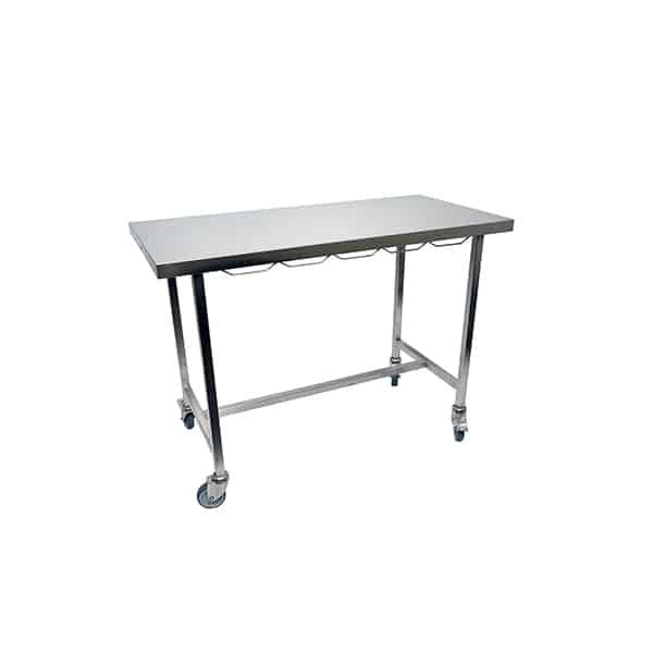 TA300001 Table consultation plateau plat INOX 4 roues D100 (dont 2 avec frein)